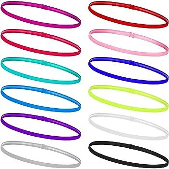 MengH-SHOP Fasce per Capelli Sport Non-Scivolo Sport Fasce Capelli Elastico Fascia per Donna Uomini Basket Yoga Golf Multicolore 12 Pezzi