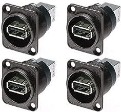 (4 Pack) Neutrik NAUSB-W-B Panel Mount Reversible USB Gender Changer Adapter