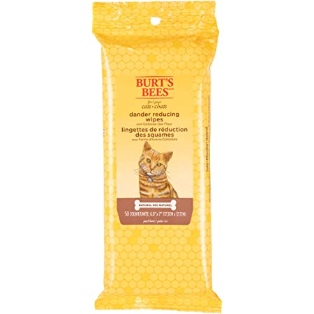 Burt's Bees for Cats Natural Dander Reducing Wipes | Kitten and Cat Wipes for Grooming | Cruelty Free, Sulfate & Paraben Free, pH Balanced for Cats- Made in The USA