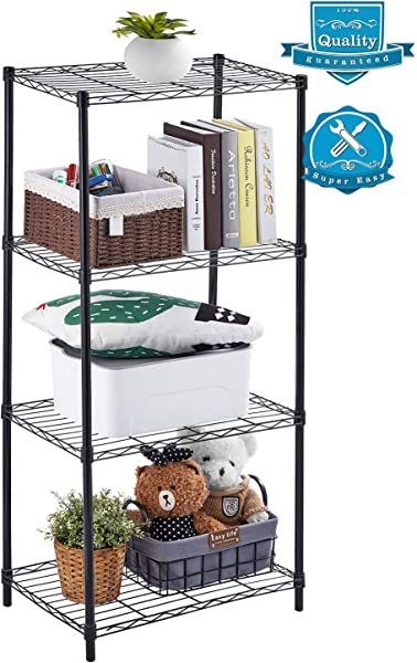 AOOU Shelf 4 Tier Shelving Unit Wire Shelf Unit Free Standing Classic Metal Steel Storage Rack Sturdy For Use In Pantry Living Room Kitchen Garage Coated With Black