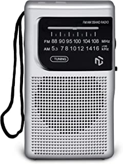 NT North Tech AM FM Battery Operated Portable Pocket Radio - Best Reception and Longest Lasting. AM FM Compact Transistor ...