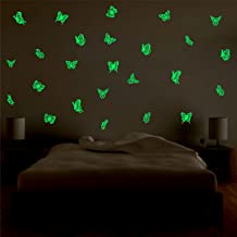 DECOR KAFE Boy's and Girl's Glowing Butterfly Fluorescent Luminous Night Glow Stickers- Pack of 2
