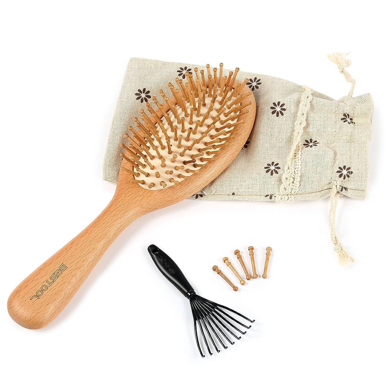 さておきフェッチ古代ヘアブラシ 木製櫛 Bestool 美髪ケア 頭皮マッサージ 薄毛改善 血流改善 高級ヘアブラシ ヘア保護 (S)