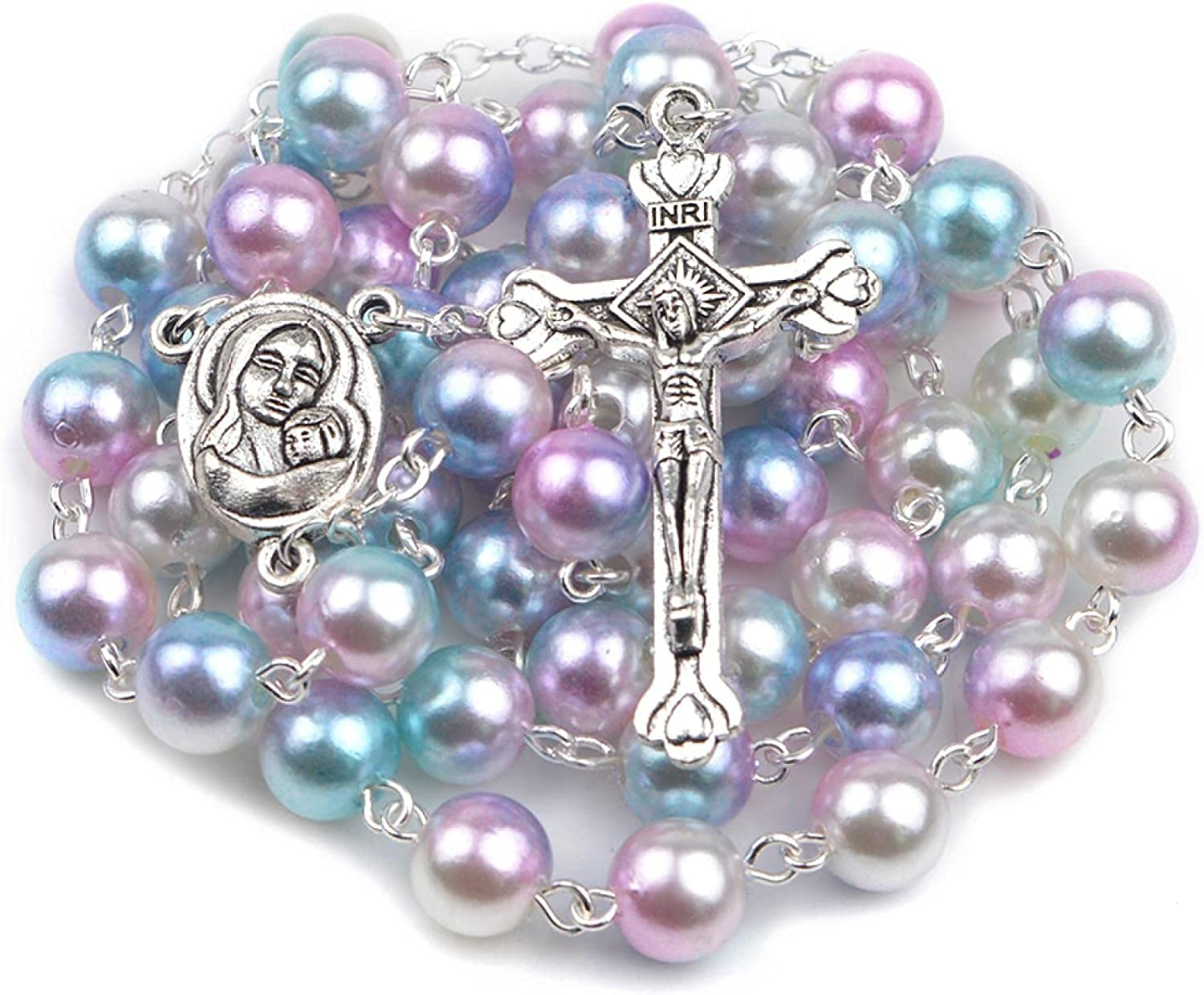 Acrylic Pearl Round Bead Necklaces Virgin Mary Multi Rosary Croos Necklace