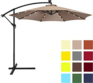 Best Choice Products 10ft Solar LED Offset Patio Umbrella w/Easy Tilt Adjustment - Tan
