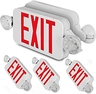 Happybuy 4 Pack Emergency Lights Red EXIT Sign with Dual LED Lamp Heads ABS Fire Resistance Exit Light with Emergency Light Photoluminescent Exit Sign Emergency Exit Light Led Exit Alarm