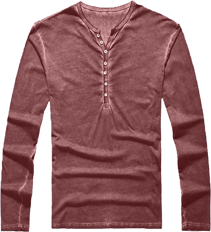 QXDLDHT Men's Cotton Shirt - V-Neck with Button Placket Plain Casual Shirt Long Sleeve Thermal Turtleneck Pullover T-Shirt