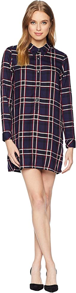 Woven Plaid Henley Shirtdress