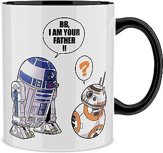 OKIWOKI Taza Negra Star Wars humorística con R2-D2 y BB-8 (Parodia de Star Wars) (Ref:862)