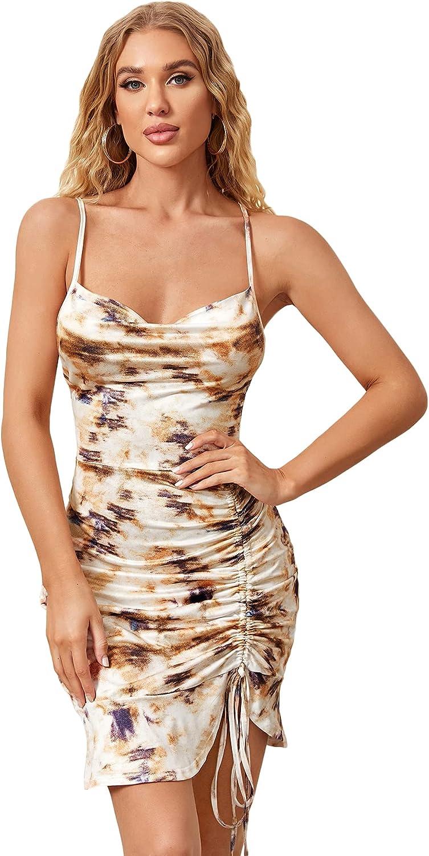 SheIn Women's Tie Dye Ruched Mini Bodycon Dress Ruffle Hem Drawstring Sleeveless Short Dresses