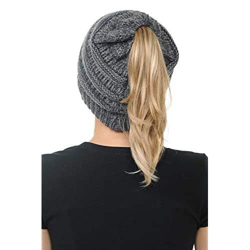 99db7d6bb50 BYSUMMER Cable Knit Beanie Messy Bun Ponytail Warm Chunky Hat