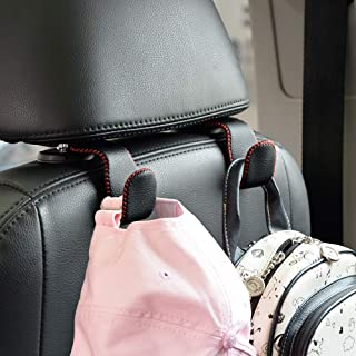Car Hooks Universal Car Vehicle Back Seat Headrest Hanger Holder Hook Microfiber Leather & Stainless Steel for Bag Purse C...