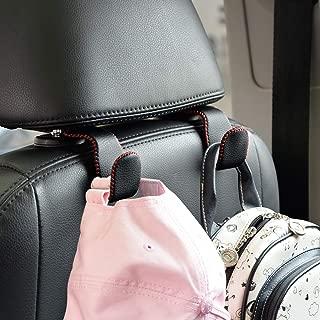 Car Hooks Universal Car Vehicle Back Seat Headrest Hanger Holder Hook Microfiber Leather & Stainless Steel for Bag Purse Cloth Drink Grocery (Black red)