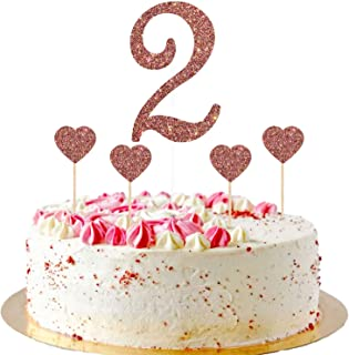 Talorine 2 Cake Topper for Kids 2nd Birthday Cake Topper with Heart Cupcake Toppers, Number Two, Two Years Old, Children B...