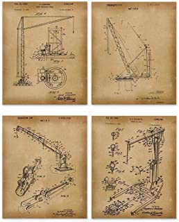 Crane Patent Wall Art - Set of 4 Vintage 8x10 Unframed Prints - Gift for Structural Engineer
