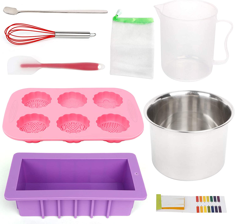 UHAPEER Kit de accesorios para hacer jabón Kit completo de 10 piezas con un molde rectangular de jabón de silicona para jabón hecho a mano