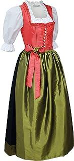 Kaiser Franz Josef Dirndl Festtracht Gr.34 Trachten-Kleid lang Sonderpreis! Balkonett Trachtenkleid Dirndlkleid mit Schürze Ballkleid TAFT Koralle orange Oliv grün glänzend Made in Austria