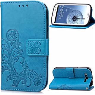 Galaxy S3 Case,Galaxy S3 Flip Stand Case,LEECO Card Slots Wallet PU Leather Magnetic Closure Folio Kickstand Protective Case Cover for Samsung Galaxy S3 Luck Clover Blue