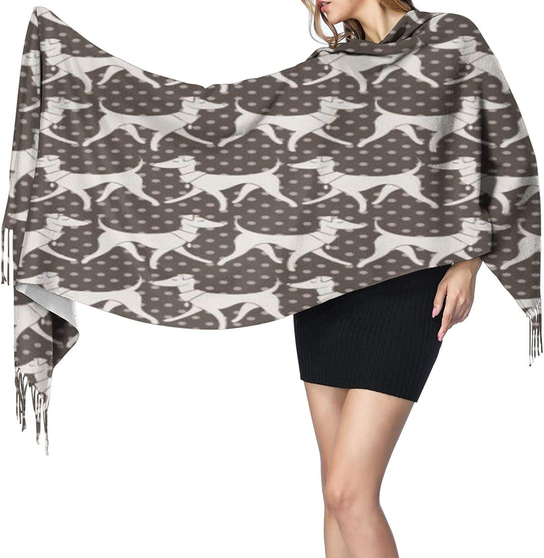 Cashmere fringed scarf Italian Greyhounds winter extra large scarf
