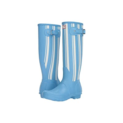 Hunter Original Garden Stripe Tall Rain Boots (Forget Me Not/White) Women