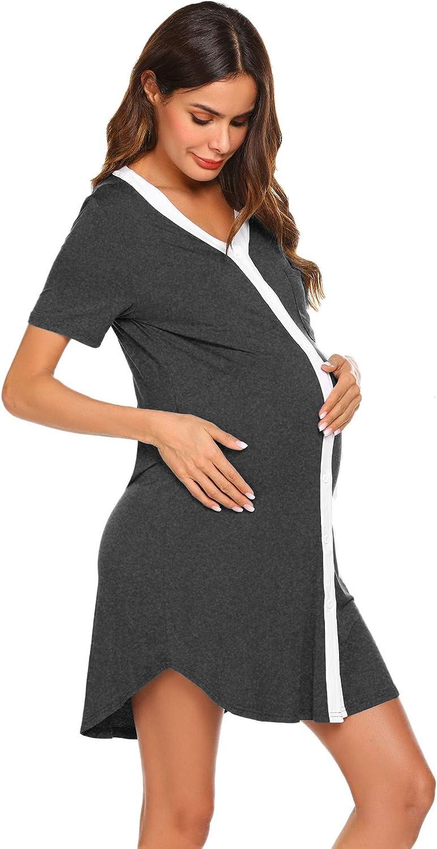 Ekouaer 40% OFF Cheap Sale Nursing Sleepshirt Women Button-Front Max 52% OFF Short Nightshirt S