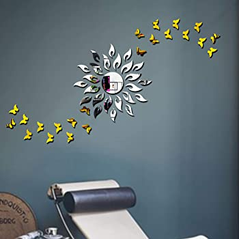 Bikri Kendra Acrylic Animals Wall Refrigerator Sticker, Silver