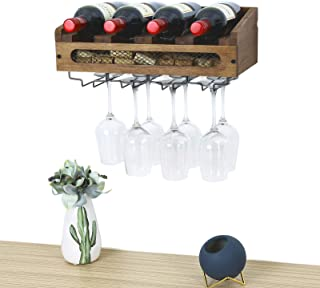 SODUKU Wall Mounted Wooden Wine Rack 4 Wine Bottles and 4 Long Stem Glasses Holder Wine Cork Storage Rack