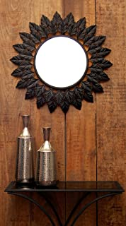 Logam Iron Leaf Decorative Wall Mirror, 77 x 77 x 5 cm