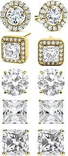 BSD Treasure 5 Pairs Women's Classic Cubic Zirconia Stud Earrings Set, Hypoallergenic Fashion Jewelry