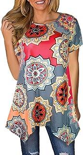 f3324b515ca Sanifer Women Floral Short Sleeve Irregular Hem Tunic Tops Asymmetrical  Tunics T-Shirts Blouses