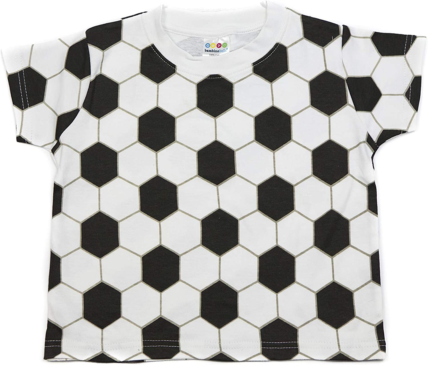 Bambino Sport Kids Sports Clothes - Short Sleeve Soccer Ball T-Shirt– Black and White