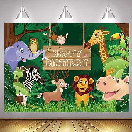 Decoraciones de Fiesta Temática de Selva, Telón de Fondo Selva Safari, Selva Safari Telón Fondo Foto, para la Fiesta Cumpleaños Niños Fiesta Estudio Estudio Foto Fondo Apoyos(6 x 3,7 pies)