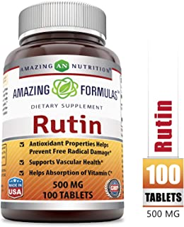 Amazing Formulas Rutin - 500mg, Tablets (Non-GMO) - Antioxidant Properties - Helps Absorption of Vitamin C - Supports Vascular Health* (100 Count)