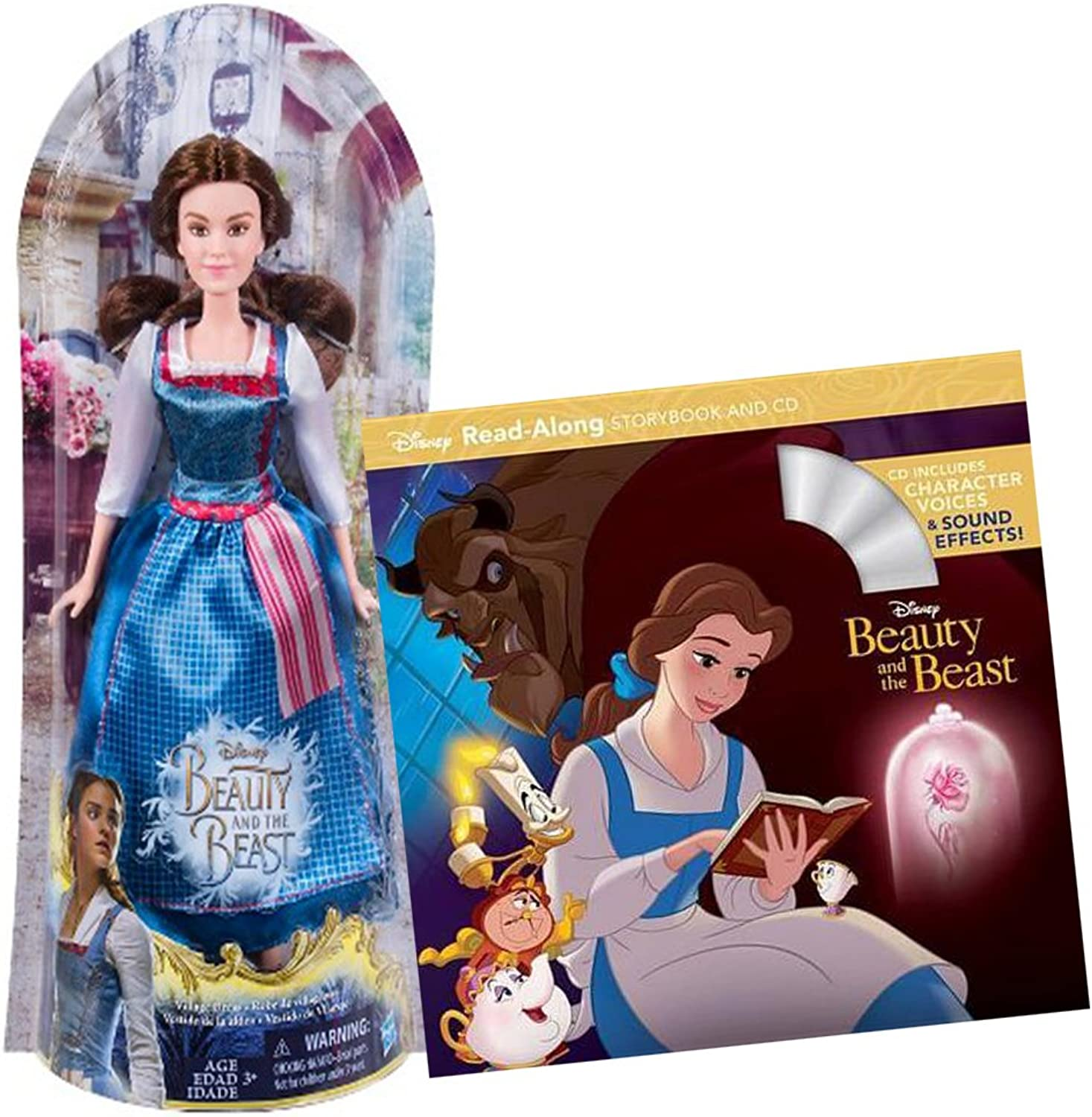 Disney's Beauty and The Beast 2Piece Bundle  Village Belle Doll and Read Along Storybook