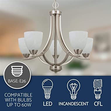 """Kira Home Weston 24"""" Contemporary 5-Light Large Chandelier + Alabaster Glass Shades, Adjustable Chain, Brushed Nickel Fin"""