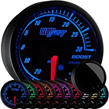 GlowShift Elite 10 Color 30 PSI Boost/Vacuum Gauge Kit - Includes Electronic Pressure Sensor - Black Dial - Tinted Lens - Peak Recall Function - for Car & Truck - 2-1/16