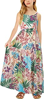 GORLYA Girl's Casual Boho Floral Print Spaghetti Strap Long Maxi Swing Dress with Pockets for 4-14T