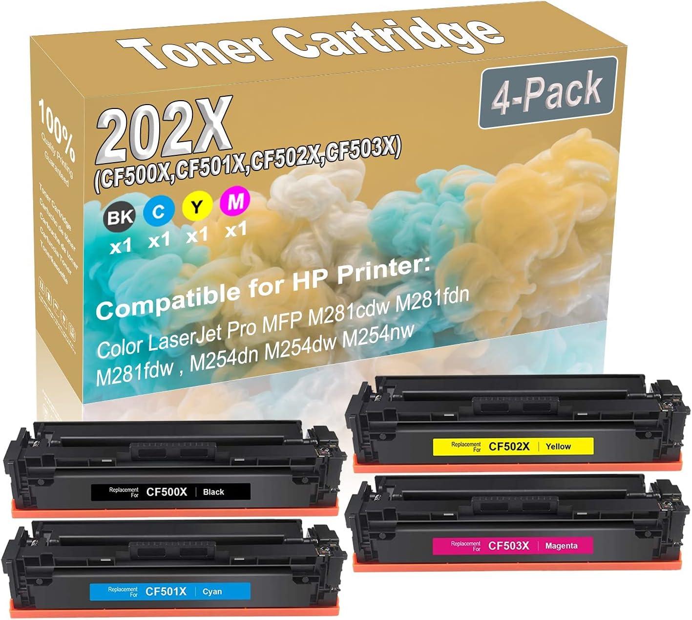 4-Pack (BK+C+Y+M) Compatible M452dn M452dw M452nw MFP M280nw MFP M281fdn Laser Toner Cartridge (High Capacity) Replacement for HP 202X (CF500X CF501X CF502X CF503X) Printer Toner Cartridge
