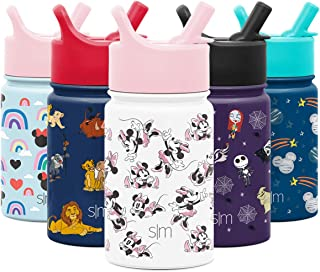 Simple Modern 10oz Disney Summit Kids Water Bottle Thermos with Straw Lid - Dishwasher Safe Vacuum Insulated Double Wall Tumbler Travel Cup 18/8 Stainless Steel - Disney: Minnie Retro
