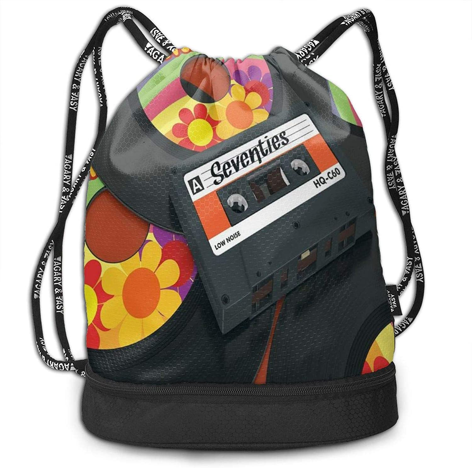 VANMASS Bundle Backpack 70s Party Compact Cassette Records Fitness Large Capacity Shoulder Drawstring Bags
