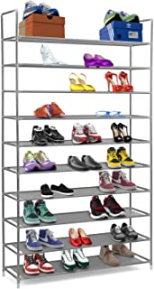 Halter 10 Tier Stackable Shoe Rack Storage Shelves - Stainless Steel Frame Holds 50 Pairs of Shoes - 39.125