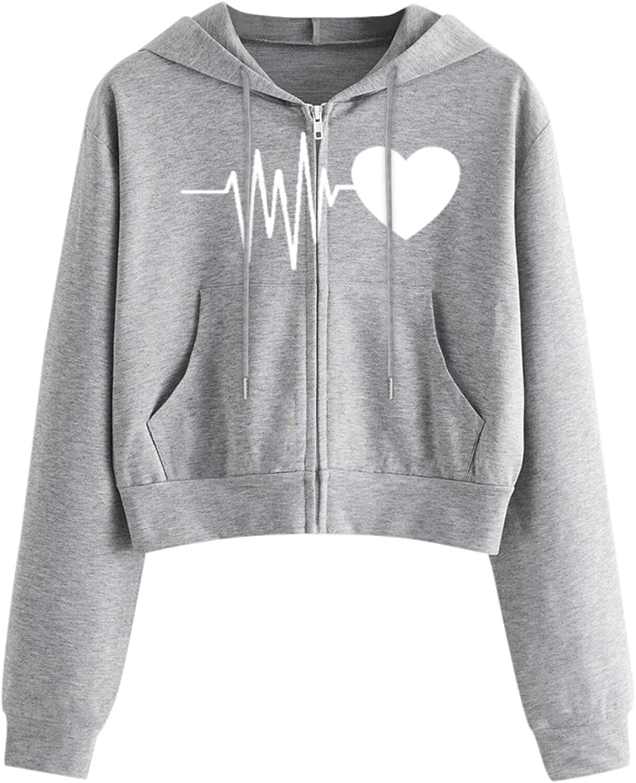 Eduavar Womens Hoodies,Women Teen Girls Fashion Heart Printed Long Sleeve Crop Top Hoodie and Sweatshirt Outerwear Tops