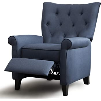 ANJ Recliner Elizabeth Accent Chair for Living Room Easy to Push Mechanism, Elegant Roll Arm Chair for Bedroom (Dark Blue)