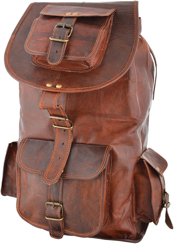 Rustic Leather Village Goat Vintage Leather Backpack Rucksack Bag 18  8  9 inches
