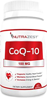 Nutrazest CoQ10 100mg - 100% Pure CoEnzyme Q-10 Benefits Cardiovascular Health, Energy and Stamina, Muscle ...