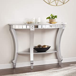 Southern Enterprises Lindsay Glam Mirrored Demilune Console Table, silver