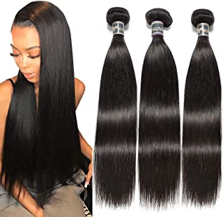 Malaysian Virgin Straight Hair 18 20 22 Inch 9A Unprocessed Straight Weave Hair Human Bundles Double Wefts 1 B Color Mixed Length Human Hair Extensions