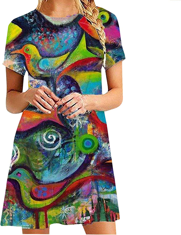 Midi Dress for Women Summer Short Sleeve 新作からSALEアイテム等お得な商品満載 Abstract Art Print 特売 Dres