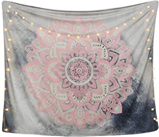 LAVAY Tapestry Mandala Wall Hanging Decor Pink Gray Indian Hippie Bohemian Flower Gypsy Decoration Beach Blanket Dorm Room Bed Sheets (Pink Flower, M: 59