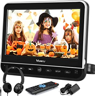 Vanku 10.1 Inch Headrest Car DVD Player with Mount, Headphone, HDMI Input, 1080P Video, Region Free, USB SD, AV in Out, La...